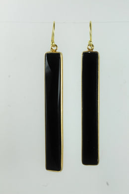 Onyx Rectangular Cut Gold Plated Sterling Silver Hanging Earrings