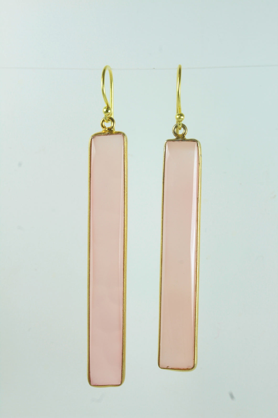 Rose Quartz Rectangular Cut Gold Plated Sterling Silver Hanging Earrings