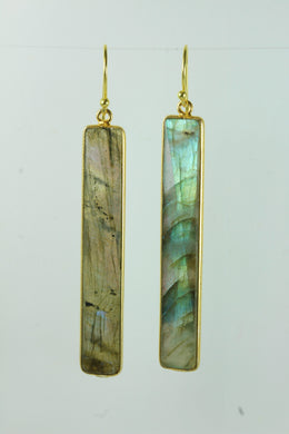 Labradorite Rectangular Cut Gold Plated Sterling Silver Hanging Earrings