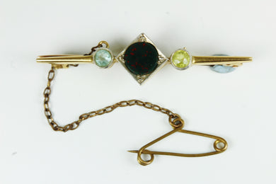 Citrine, Aquamarine And Bloodstone 15 ct Gold Tie Pin With Safety Chain