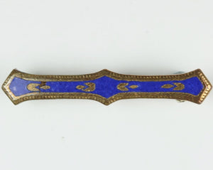 Vintage Blue Enamel Brass Tie Pin