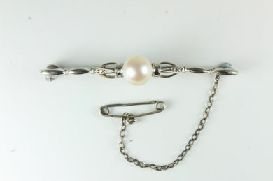 Fairfax Roberts Natural Pearl 18ct White Gold Tie Pin With Safety Chain