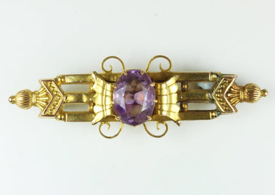 Antique Detailed Amethyst Gold Tie Pin