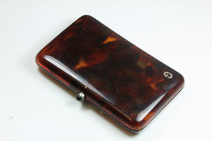 Tortoiseshell Cigarette Box With Emerald Set Into Closure