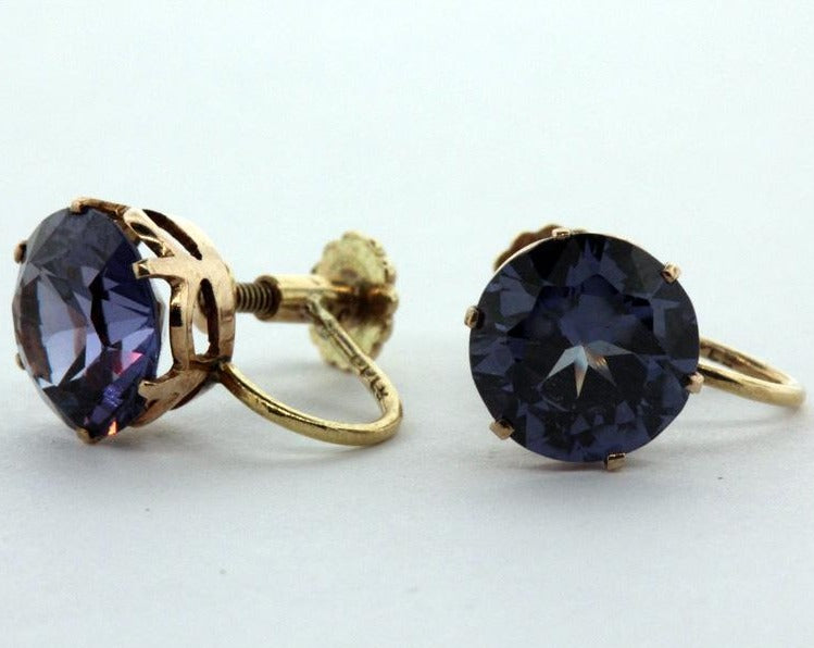 Vintage 15ct Yellow Gold Alexandrite Screw On Earrings