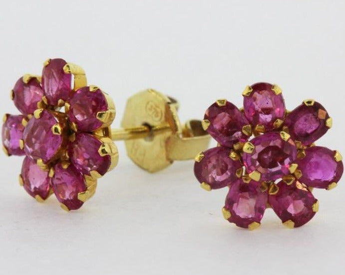 18ct Yellow Gold Ruby Floral Cluster Stud Earrings