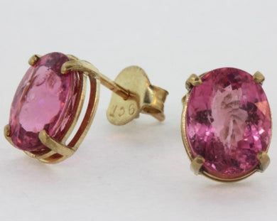 9ct Yellow Gold Pink Tourmaline Stud Earrings