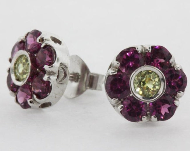 9ct White Gold Pink Tourmaline and Citrine Daisy Cluster Stud Earrings
