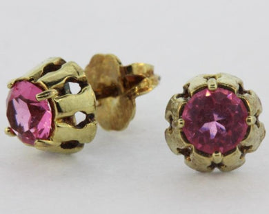 Vintage 9ct Yellow Gold Pink Tourmaline Floral Stud Earrings
