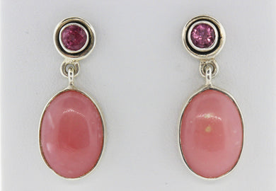 Pink Tourmaline and Peruvian Opal Studs