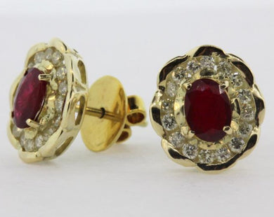 9ct Yellow Gold Natural Pigeon Blood Ruby and Diamond Stud Earrings