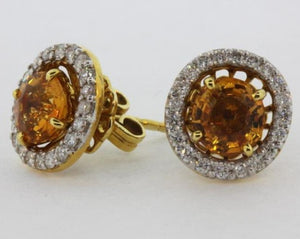9ct Yellow Gold Madeira Citrine and Diamond Stud Earrings