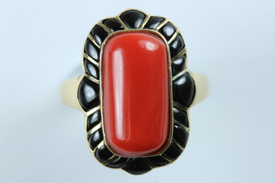 Coral and Onyx Ladies Ring
