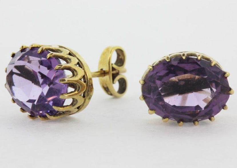 Antique 9ct Yellow Gold Amethyst Studs