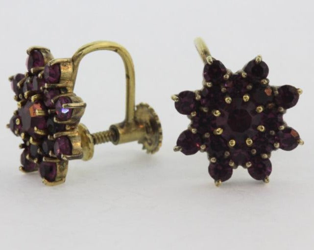 9ct Amethyst Star Cluster Screw Ons