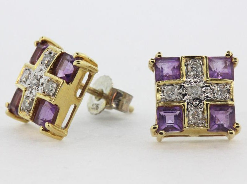 9ct Yellow Gold Amethyst and Diamond Studs