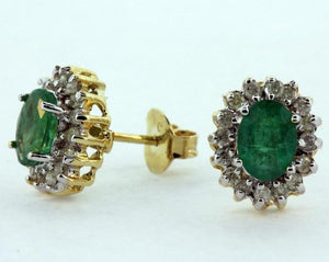 9ct Emerald and Diamond Studs