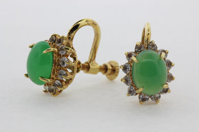 Chrysoprase and Crystal Screw On Earrings