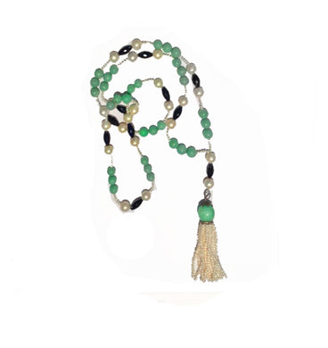 Natural Jadeite, Cultured Pearl and Black Spinel Lariat Necklace