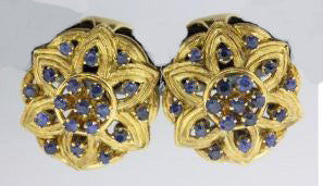 Vintage 18ct Yellow Gold Ceylonese Sapphire Clip On Earrings