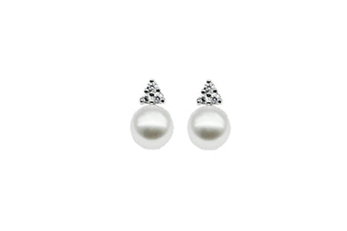 Silver Gold Plate Cultured Pearl Stud Earrings