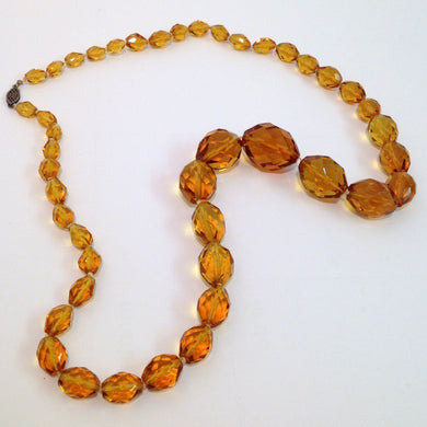 Antique Sterling Silver Amber Glass Faceted Graduated Beaded Necklace