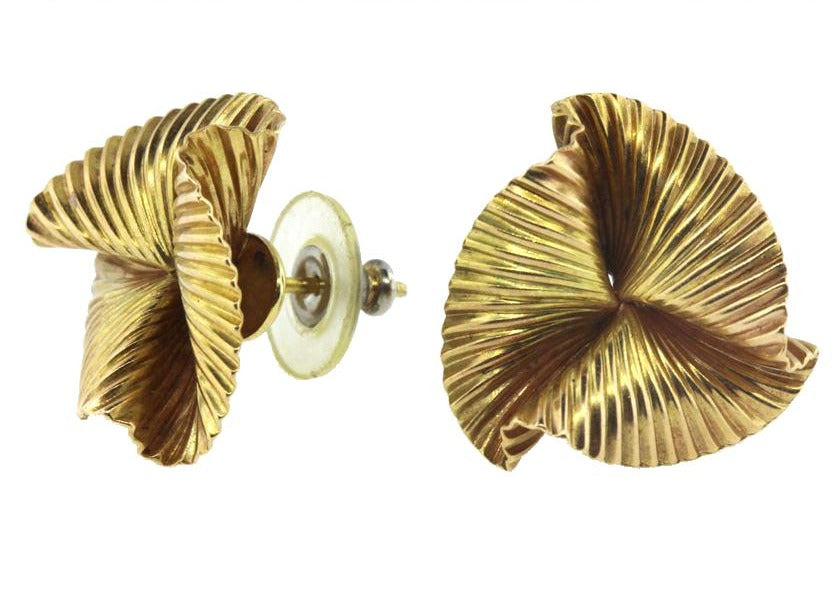 Vintage 9ct Yellow Gold Rippled Stud Earrings
