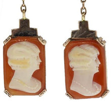 9ct Yellow Gold Conch Shell Cameo Chain Drop Earrings
