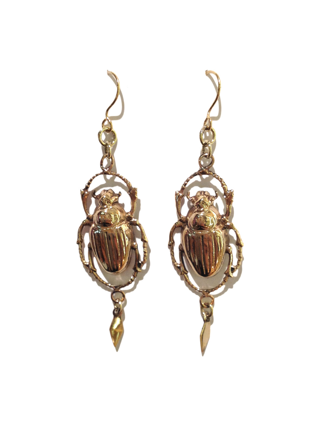 Silver Gold Plate Scarab Earrings