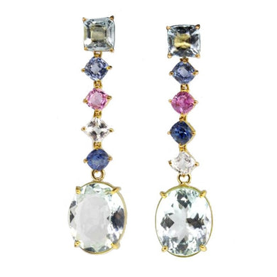 18ct Yellow Gold Aquamarine and Assorted Sapphire Stud Drop Earrings