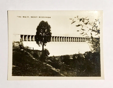 The Weir Near Wodonga, Beauty Spots in Australia Published: Rose Stereograph Co Armadale Vic. Black and White Orig.