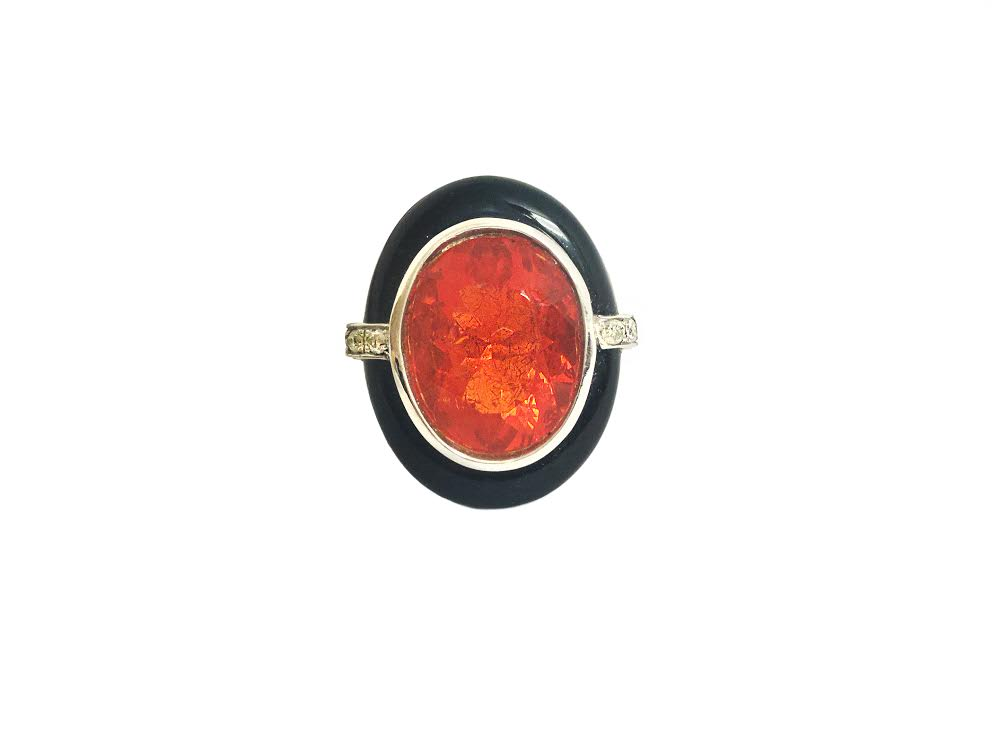 SAMPLE Statement Mexican Fire Opal Onyx and Diamond Dress Ring