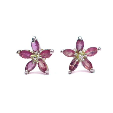 Sterling Silver Natural Ruby Floral Stud Earrings