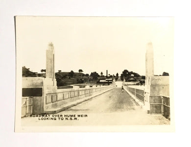 Roadway over the Hume weir Looking to NSW, Beauty Spots in Australia published by Rose Stereograph Co Armadale Vic.