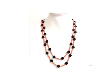 Natural Mediterranean Coral and Onyx Bead Necklace