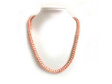 Natural Two Toned White And Angel Coral Beaded Necklace