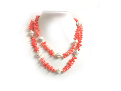 Pink Coral And South Sea Pearl Necklace