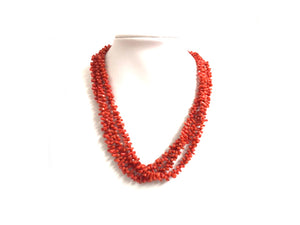Natural Mediterranean Branch Coral Triple Strand Necklace