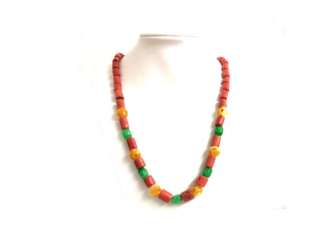 Vintage natural Coral And Jadeite Beaded Necklace