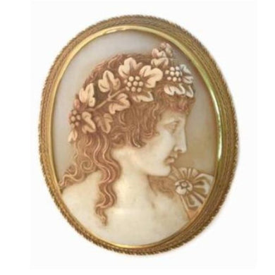 18ct Gold Georgian c.1860's Hadrian's Lover Antonio Conch Shell Cameo Brooch