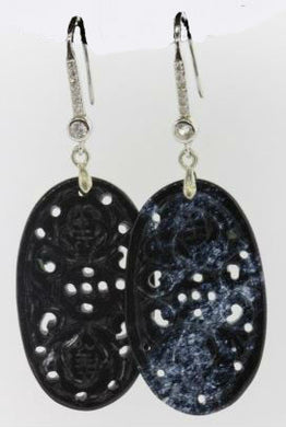 Carved Black Jadeite Earrings