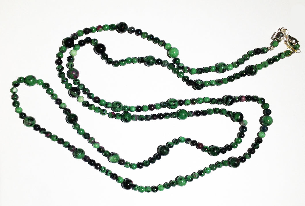 Natural Zoisite Beads with Sterling Silver Clasp
