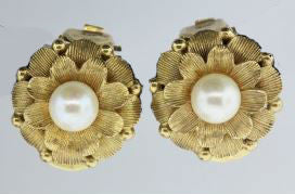 Vintage 9ct Yellow Gold Pearl Clip-On Earrings