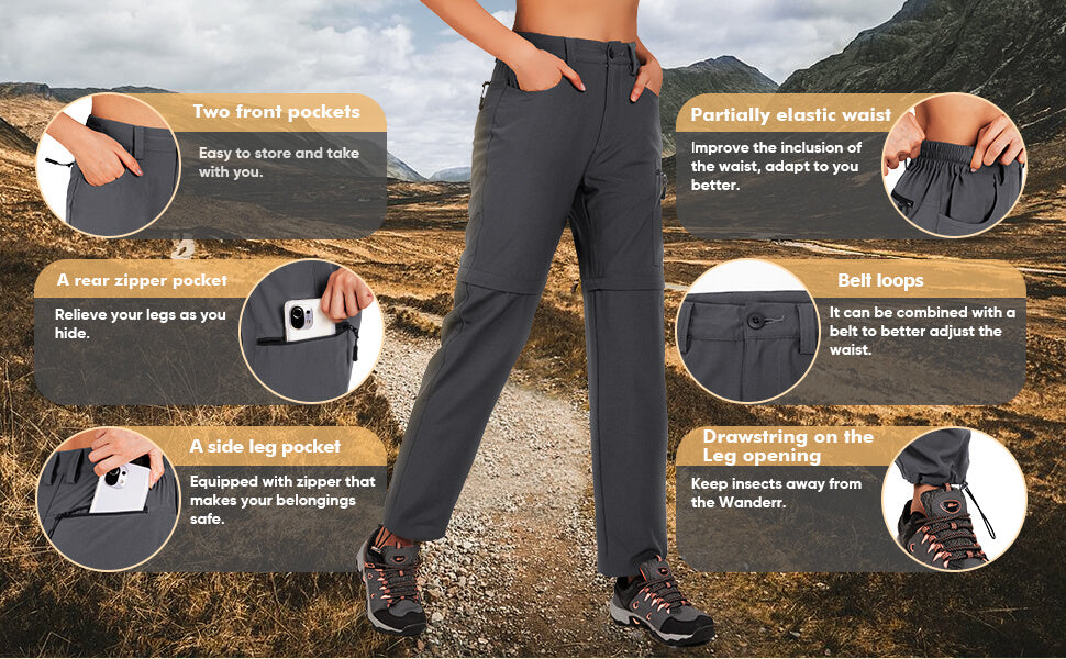 women convertible hiking pants features