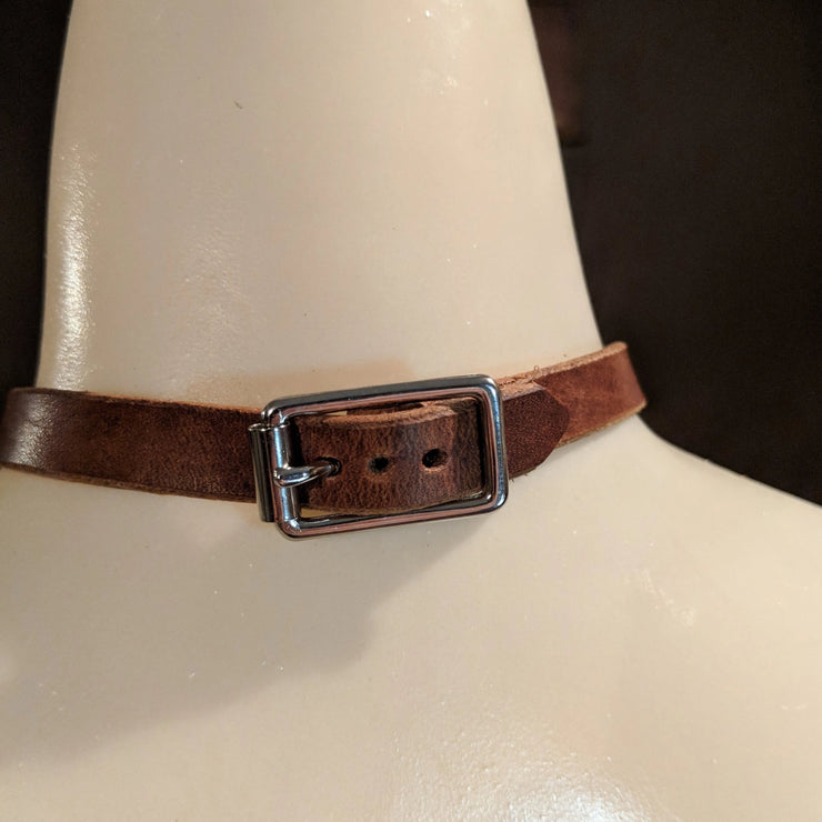 Leather Choker Metal O Ring Necklace - Caliber Leather Company
