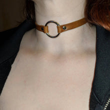 Load image into Gallery viewer, Leather Choker Metal O Ring Necklace - Caliber Leather Company