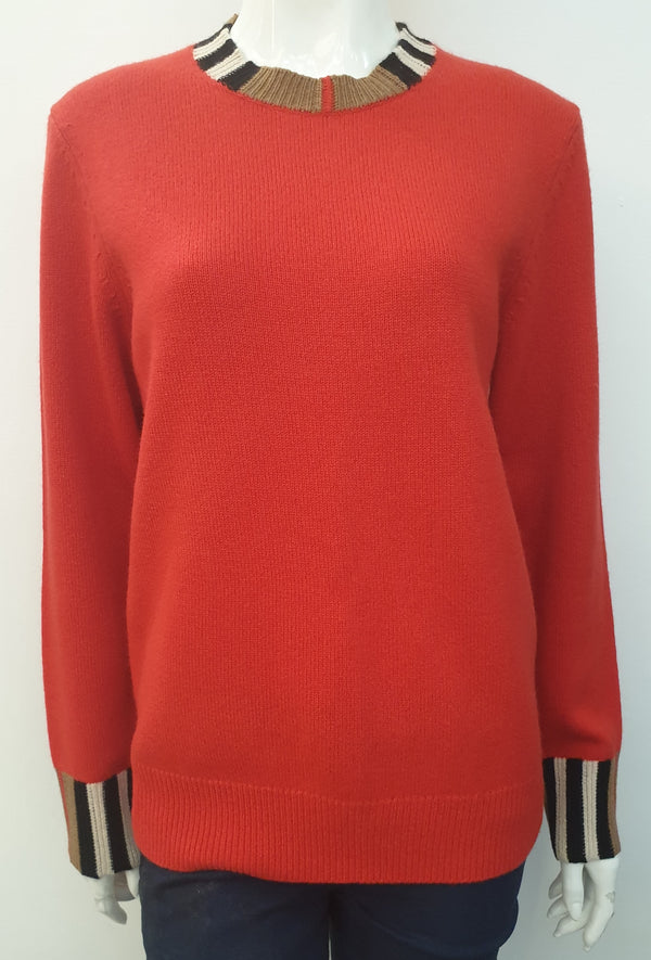 ICON STRIPE TRIM CASHMERE SWEATER