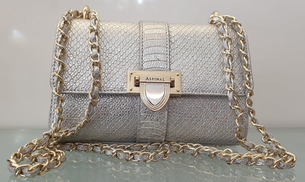 SILVER PYTHON PRINTED LEATHER BAG