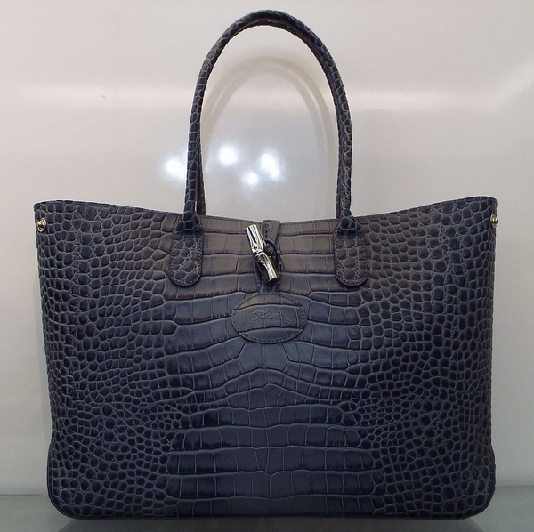ROSEAU CROC PRINT LEATHER TOTE BAG