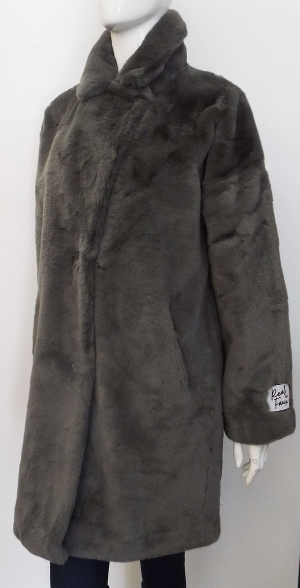 JOELA FAUX FUR COAT IN DEEP GREY